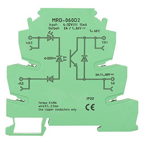 Relé de estado sólido, MRD-060D2 Módulo de relé de estado sólido ultrafino de 6,2 mm, entrada de 4-32 VCC, con indicador de estado de entrada LED, carcasa ignífuga