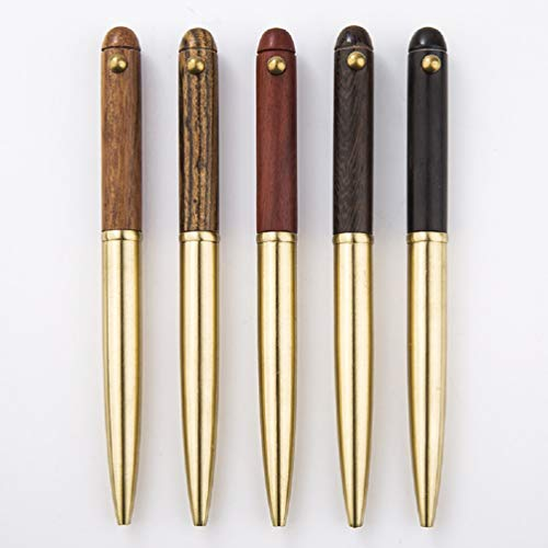 Gullor 5PCS Handcraft Luxury Wooden Ballpoint Pen, Made of Rosewood and Brass, Color May Vary for Pure Natural Wood