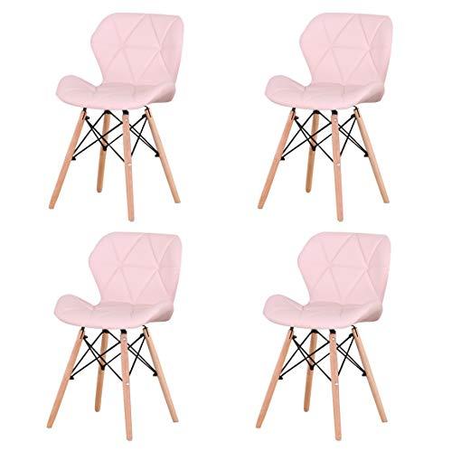 Esszimmerstühle 4er Set, Wohnzimmerstuhl Esszimmerstuhl stühle & hocker fürs arbeitszimmer Ergonomische Rückenlehne,PU Esszimmerstuhl mit Beinen aus natürlichem Buchenholz,für Arbeitszimmer,(Color