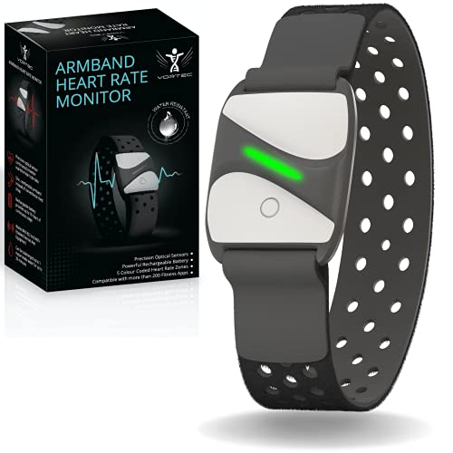 ANT Bluetooth Heart Rate Monitor Armband – Peloton heart rate monitor- Optical Sensor HRV Monitor – Rechargeable Battery, Wireless Charging Compatible with 200+ Apps - ANT Heart Rate Monitor by Vortec