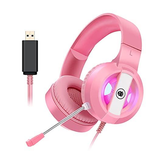 Oqqo Auriculares para Juegos de Estudio Profesionales con Cable con micrófono sobre la Oreja Monitor de Alta fidelidad Auriculares para Juegos de música Auriculares para teléfono PC C7.1USB