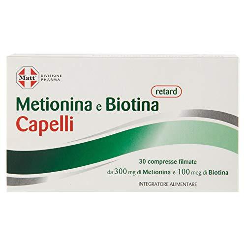 Matt Divisione Pharma - Metionina e Biotina Retard Capelli - Integratore per Capelli a Rilascio Prolungato - 30 Compresse - 31 gr