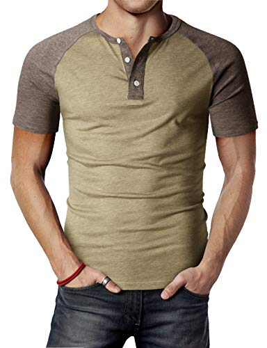 H2H Men Slim Fit Henley Raglan Short Sleeve Contrast Color Block Casual Baseball T-Shirt HEATHERBEIGE US XL/Asia 2XL (CMTTS0222)