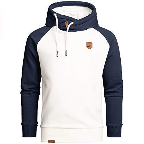 Amaci&Sons Herren Basic Kapuzenpullover Sweatjacke Pullover Hoodie Sweatshirt 4053 Weiß/Navyblau L