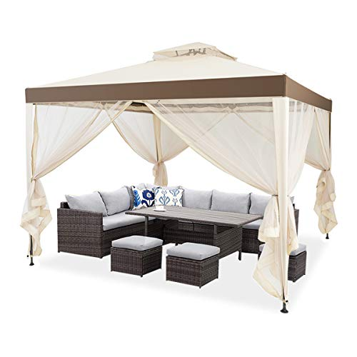 La fete Outdoor 10' x 10' 2-Tier Roof Gazebo Tent with Mosquito Netting for Garden Lawn Patio House Yard Beach Home Patio Garden Structures Gazebos (Beige)
