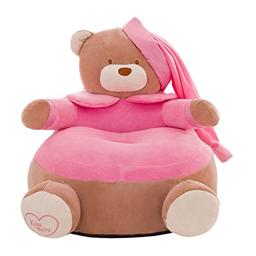 PETSOLA Adorable Kindersitz Sofa Cover Baby Snuggle Sofa Plüschtier Sitzsack - Bär- Rosa