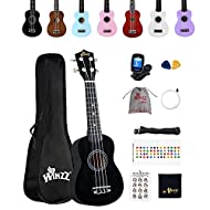 EVERYONE CAN PLAY - Children or adults, novices or professionals, the ukulele is suitable for everyone who starts to play a musical instrument. Winzz soprano ukulele together with the beginners pack is your best choice. TRUST & QUALITY - With basswoo...