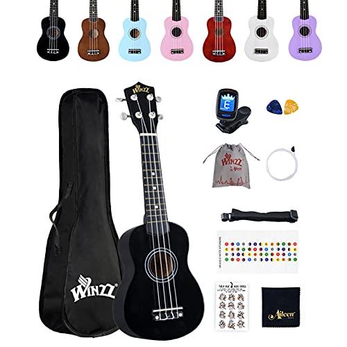 Winzz Ukelele Soprano Starter Kit para Principiante. Incluye: Funda, Afinador, Cuerdas Extra, Correa Ajustable, Púas, Pegatinas de notas, Guía de Acordes y Paño de pulido. Color: Negro