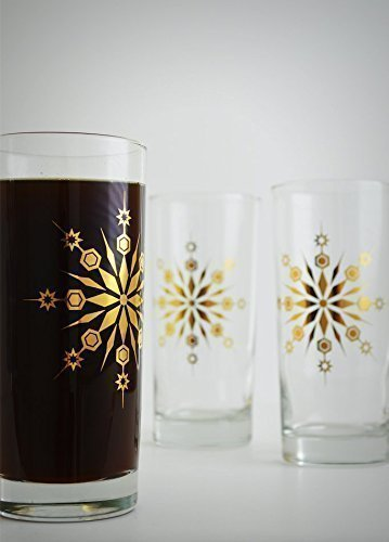 Gold Snowflake Glasses - Set of 2 Gold Holiday Glasses, Gold Christmas Glassware, Holiday hosting