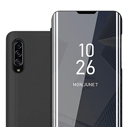 Cadorabo Hülle kompatibel mit Samsung Galaxy A90 5G in TURMALIN SCHWARZ - Clear View Spiegel Schutzhülle - Ultra Slim Hülle Cover Etui Tasche mit Standfunktion 360 Grad Schutz Book Klapp Style