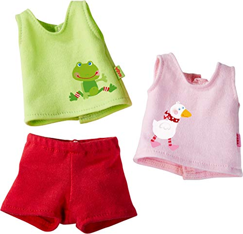 HABA 304228 - Kleiderset Unterwäsche, Set aus 2 Unterhemden und 1 Hose, Puppenzubehör für alle 30 cm großen HABA-Puppen, ab 18 Monaten