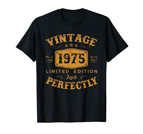 46 Años Cumpleaños Hombre Regalo Vintage 1975 Nacido En 1975 Camiseta
