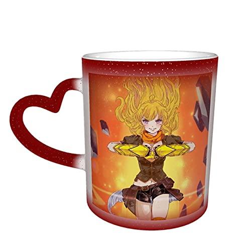 RWBY - Taza cambiante de color en el cielo, cerámica sensible al calor, cambiante, taza de viaje, taza de café, tazas de té, color rojo
