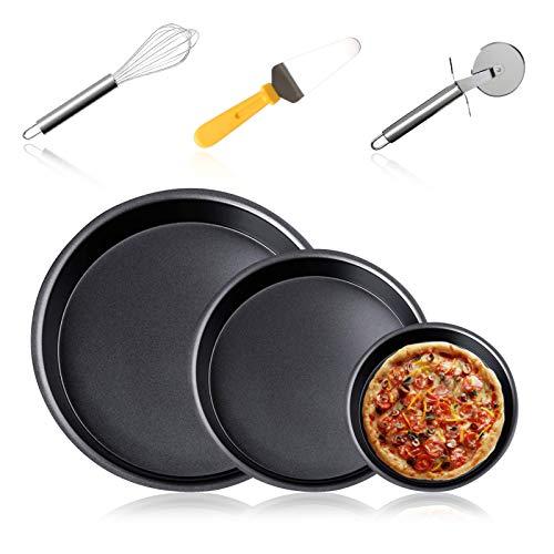 "6-Piece Set Non-stick Pizza Pan & tools set, Pizza Pan 12""、8""、6"" Round Premium Bakeware, Pizza Cutter 2.6"
