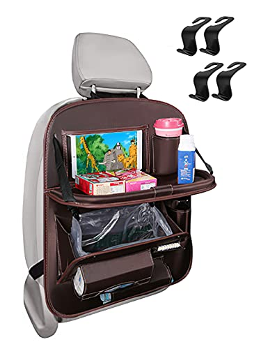 BackseatCarOrganizer,CarSeatOrganizerwithFoldableTableTrayforKids, Car Trash Can Backseat Car Organizer with Cup Holder and TissueBox, Waterproof & Oil-proof Travel Accessories (Ox - coffee)