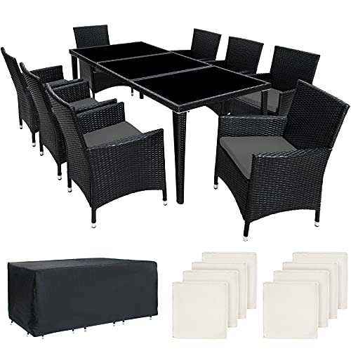 TecTake Salon de jardin en aluminium résine tressée poly rotin table   8 fauteuils   Deux set de housses + habillage pluie inclus   -diverses couleurs au choix- (Noir   No. 401161)
