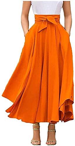 Falda plisada de cintura alta maxi para mujer A-Línea Elegante, estilo irregular, vintage, retro...