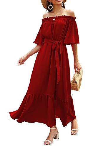 Odosalii Sommerkleid Damen Maxikleider V-Ausschnitt Schulterfrei Lang Kleid für Damen Kleider Sexy Strandkleid (Medium, Rot 2)