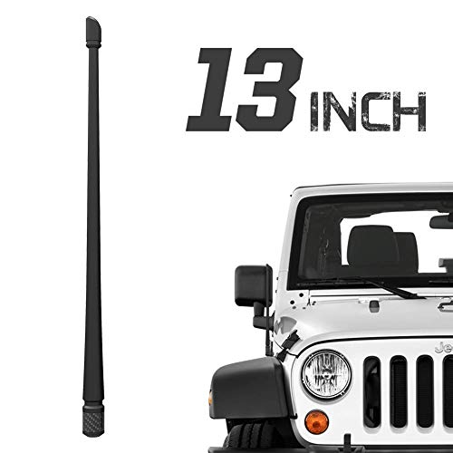 Rydonair Antenna Compatible with Jeep Wrangler JK JKU JL JLU Rubicon Sahara (2007-2021) & Gladiator   13 inches Flexible Rubber Antenna Replacement   Designed for Optimized FM/AM Reception
