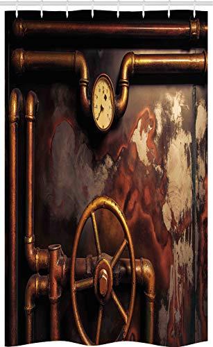 ABAKUHAUS industrieel Douchegordijn, stoompijpen, voor Douchecabine Stoffen Badkamer Decoratie Set met Ophangringen, 120 x 180 cm, Dark Orange Umber