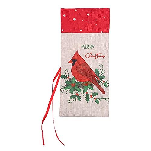 ALEOHALTER Cubierta de botella de vino de Navidad de tela de lino para el hogar Festival de Navidad de botellas de vino decoraciones de Navidad