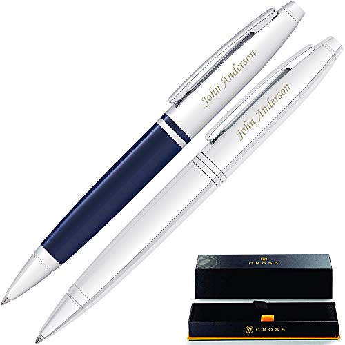 Engraved Cross Pen Set | Personalized Cross Calais Gift Double Gift Pen Set -1 Chrome and 1 Blue Pen. Custom Engraved By Dayspring Pens!