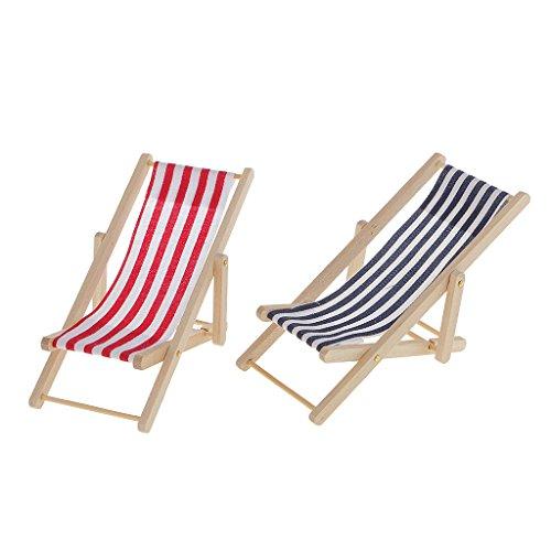 sharprepublic 2x Miniature Wood Striped Lawn / Beach Chair Dollhouse Furniture Blue+Red