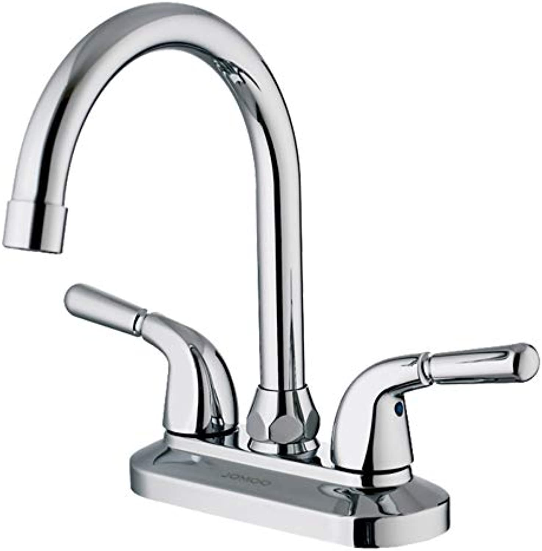 FTUUC Doppel-Doppel-Waschbecken Waschbecken voll Kupfer heiem und kaltem Wasserhahn 360-Grad-Drehung