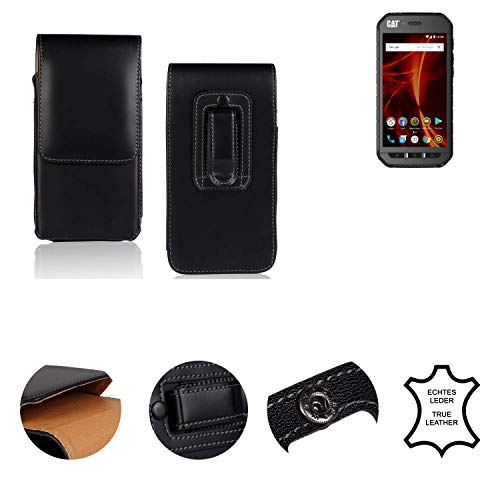 K-S-Trade® Holster Gürtel Tasche Für Caterpillar Cat S41 Dual-SIM Handy Hülle Leder Schwarz, 1x