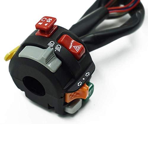 OutingStarcase Motocicleta 7/8' 22mm manillar de control del montaje del interruptor de advertencia luz de señal de encendido Cuerno de inicio adelantamientos Botones de repuestos accesorios for motos
