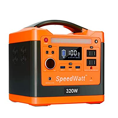 SpeedWatt Portable Power Station, 298 Wh / 96000 mAh Solar Generator Lithium Battery for Outdoors Camping Travel Home Emergency CPAP with 320W Regulated Voltage Dual 110V AC USB 3.0 Type-C 60W PD