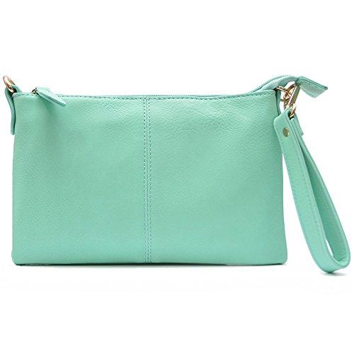 Vain Secrets Umhängetasche Clutch kleine Abendtasche mit Schulterriemen und Handgelenk Schlaufe (Mint)