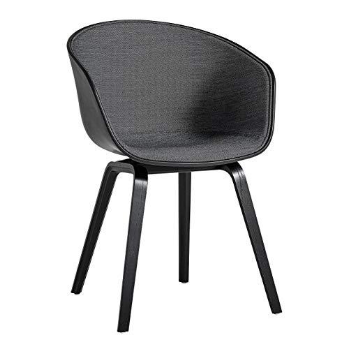HAY About a Chair 22 stoel met spiegelbekleding Unicolor, donkergrijs schaal soft zwart stof Surface 190 frame eiken zwart gebeitst standaard kunststof
