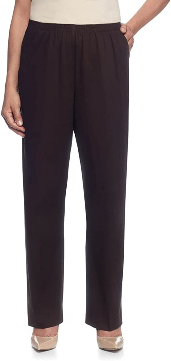 Alfred Dunner Womens Plus-Size Soft Twill Mid-Rise Regular Fit Straight Leg Short Length Casual Pant