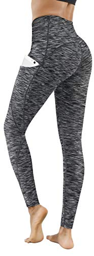 Lingswallow High Waist Yoga Pants - Yoga Pants with Pockets Tummy Control, 4 Ways Stretch Workout Running Yoga Leggings (Space Dyed Black, Medium)