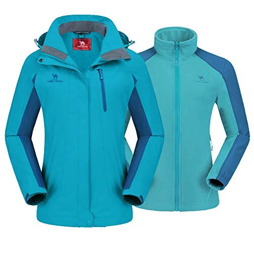 CAMEL CROWN Women's Ski Jacket Waterproof 3 in 1...