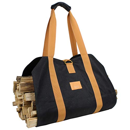 Off the Grid Firewood Log Carrier Bag - Waxed Canvas Wood Bag - Campfire, Fireplace, Bonfire, Accessories (Black)