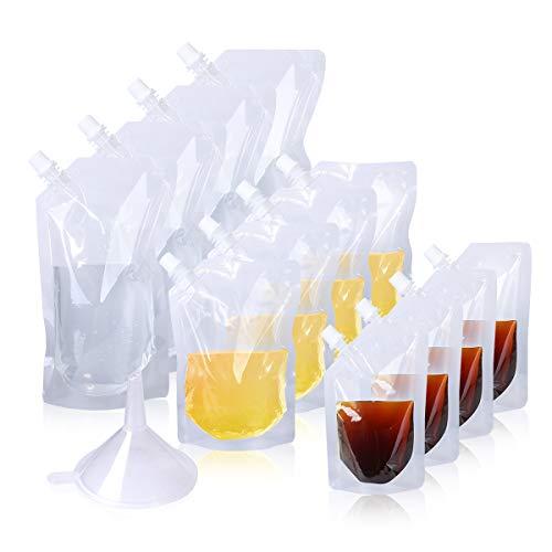 AIEVE Trinkbeutel, 12 Stück Getränkebeutel Wasserbeteul Likörbeutel aus Kunststoff BPA-Frei mit Trichter für Flüssigkeit Saft Milch Wein bei Draußen Picknick Camping