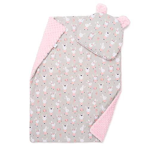 EliMeli Baby-Set BABYDECKE mit Kissen Babybettwäsche Minky Decke mit Kopfkissen für Mädchen und Junge Kuscheldecke mit Kinderkissen für Kinderwagen oder Bett (75x100, Rosa - Hase)