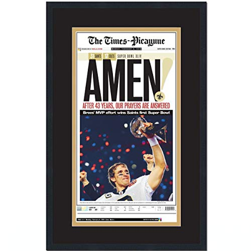 Framed The Times Picayune New Orleans Saints Super Bowl XLIV 44 Champions 17x27 Football Newspaper Cover Photo Professionally Matted