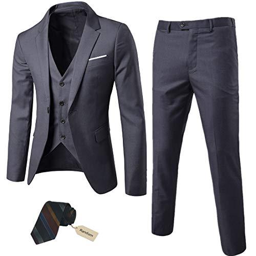 Men's Colored Striped 3 Piece Suit Slim Fit Tuxedo Blazer Jacket Pants Vest Set (Coffee-DB, Large)