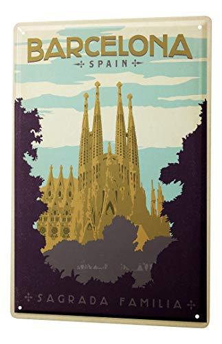LEotiE SINCE 2004 Cartel Letrero de Chapa Pasión Viajes Ciudad España Barcelona Sagrada Familia