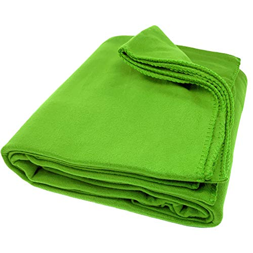 JEMIDI Fleecedecke Fleece Wohndecke Sofadecke Bettüberwurf Sofa Decke erhältlich in 3 Größen bis XXL Fleece Grün 200cm x 150cm