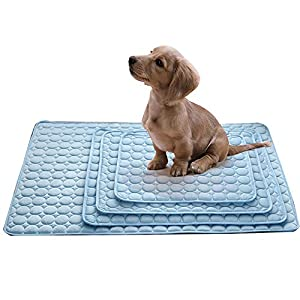 Urijk Dog Cooling Bed Mat for Crate Kennel, Soft Slipcover Breathable Dog Cooling Mat Mattress Pad, Non Toxic & Non Sticking & Skin-Friendly, Dog Cool Bed Liner for Small Medium Large Dogs