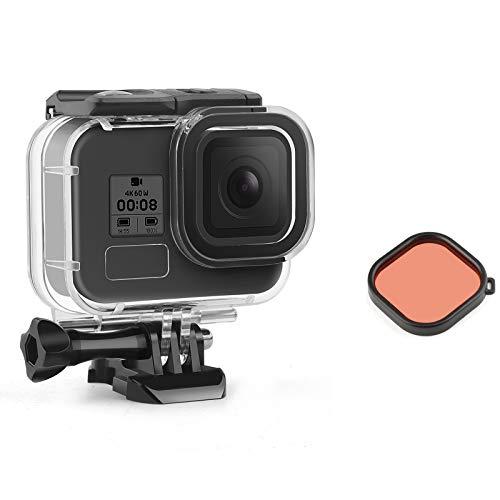 SHOOT Carcasa impermeable para GoPro Hero 8, resistente al agua hasta 45 m, con filtro rojo