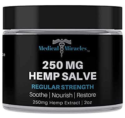 Hemp 250 Mg Regular Strength Healing Salve, Relieves Inflammation, Muscle, Joint, Knee, Nerves, and Arthritis Pain. 100% Natural Cream. Medical Miracles by Medical Miracles