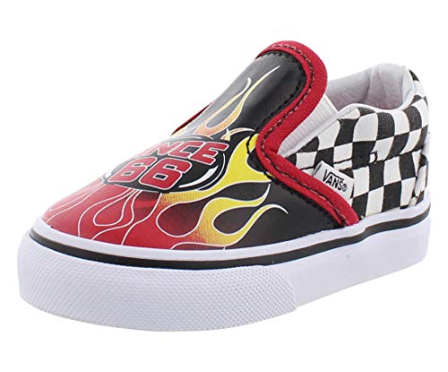 Vans Kids' T Classic Slip-On - K, Race Flame Black Racing Red Wh, 10 Toddler