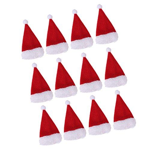 PETSOLA 12x Mini Père Noël Bonnet De Noel Chapeau Couvercle De Bouteille De Vin Chocolat Porte Sucette
