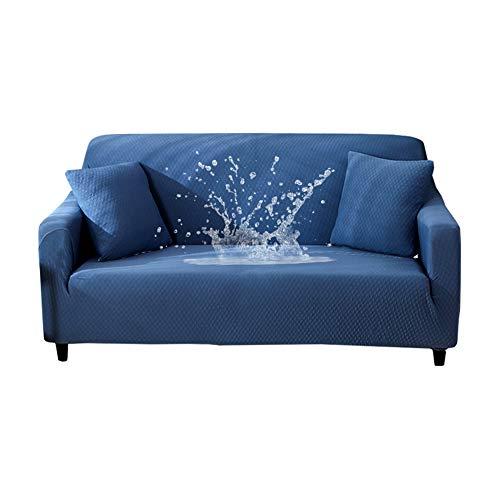 HOTNIU Wasserdichtes Stretch Sofa Schonbezug - 1-Piece Dehnbarer Stoff Couch Cover - Beflockt Muster Ausgestattet Couch Schonbezug (3-Sitzer, Blau)