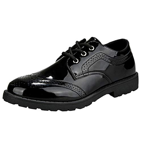 Celucke Herren Business-Schuhe Budapester, Lederschuhe Schnürschuhe Lackschuhe Anzugschuhe aus edlem Leder